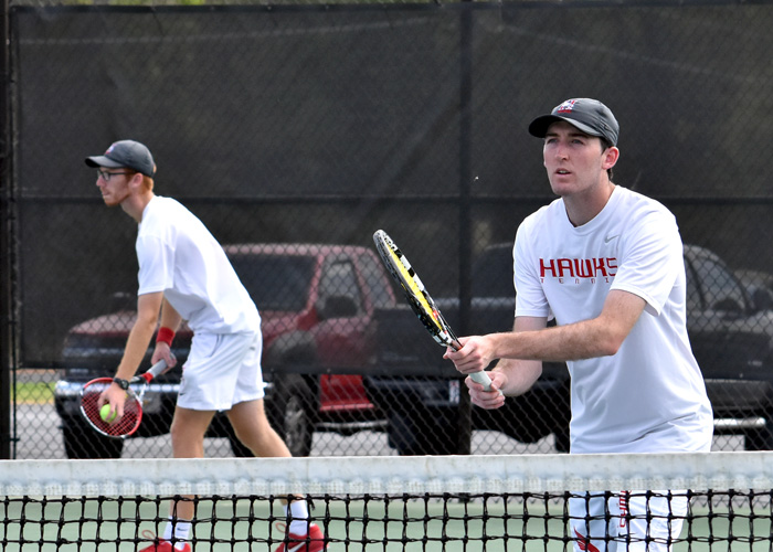 Bailey Burns (left) and John Jones (right) won at No. 1 doubles in Huntingdon's loss to Piedmont on Saturday.