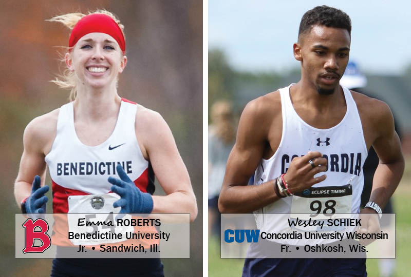 Benedictine junior Emma Roberts (Sandwich, Ill.) and Concordia Wisconsin freshman Wesley Schiek (Oshkosh, Wis.) have been named the NACC Cross Country Student-Athletes of the Week.