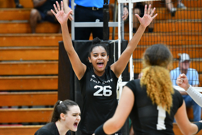 Manuela Ibarguen, who led the Eagles with 17 kills, celebrates during a 3-0 win over Lake-Sumter State College. (Photo by Tom Hagerty, Polk State.)