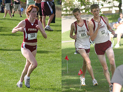 Ferris' Megan Josey, Brian Reynolds and Derek Childs (left to right) were among the Bulldogs' competitors in the season-opening meet