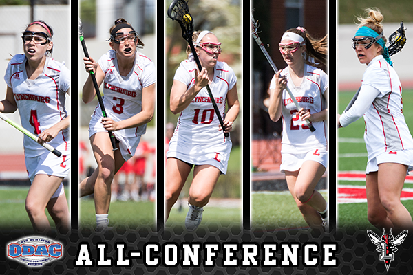 Five women's lacrosse players shown playing, the five All-ODAC honorees. Text: All-Conference. Logos: ODAC, Lynchburg Hornet.