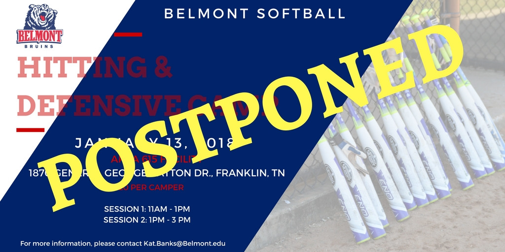 Softball Hitting & Defensive Camp Postponed