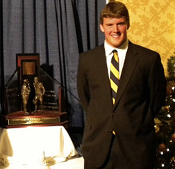 Blaine Westemeyer with the Gagliardi Trophy