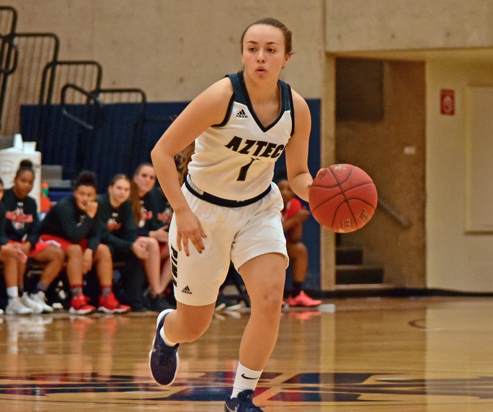 Freshman RyLeigh Long was one of five players who scored in double figures for the Aztecs. She finished with 12 points off the bench in Pima's 107-47 win over Colorado Northwestern at the Snow College Tournament. Photo by Ben Carbajal.