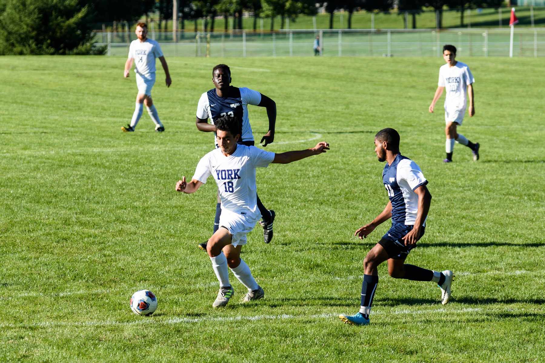 Freshman Carlos Robles-Flores, who scored twice in the 4-2 win, shoots in the first half.