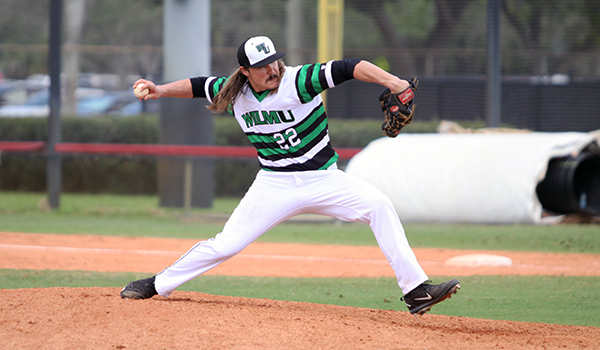 Copyright 2017; Wilmington University. All rights reserved. Photo of Chuck Delagol who had seven strikeouts in five innings against AIC.