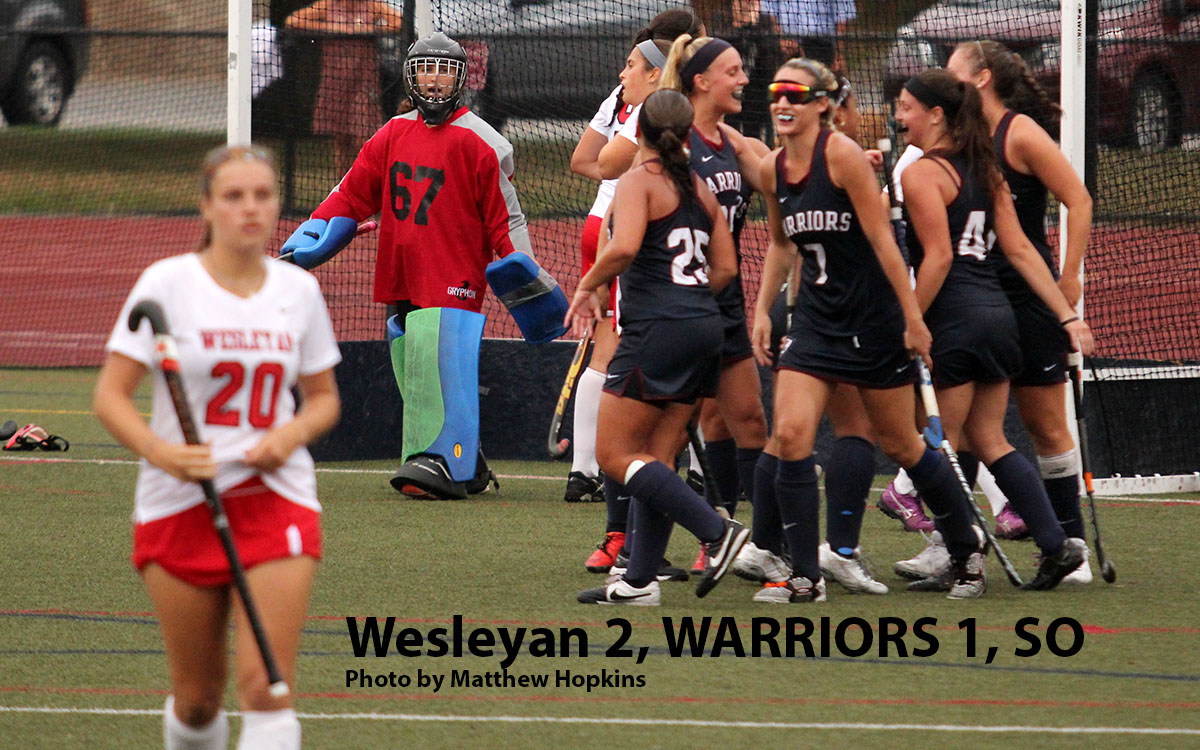 While Wesleyan goalie Claire Edelman and midfielder Abby Warren  look on, Eastern celebrates its game-tying goal  14 minutes into the second half in Wednesday's 2-1 shootout loss at the Mansfield Outdoor Complex. The Warriors outshot the Cardinals, 22-8, including 10-1 in 30 minutes of scoreless overtime play.
