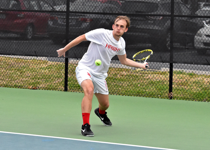 Justin McQueen teamed with Aaron Triplett to win at No. 2 doubles in Monday's win over Division II Tuskegee University.