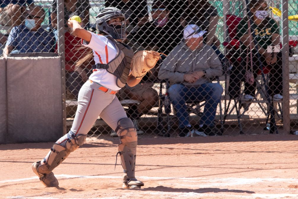 Sophomore Kelli Samorano (Tucson Magnet HS) was a bright spot for the Aztecs as she finished the day 4 for 7 with two RBIs but the Aztecs softball team dropped two games against South Mountain Community College 7-0 and 12-9. The Aztecs are now 6-4 overall and in ACCAC conference play. Photo by Stephanie Van Latum