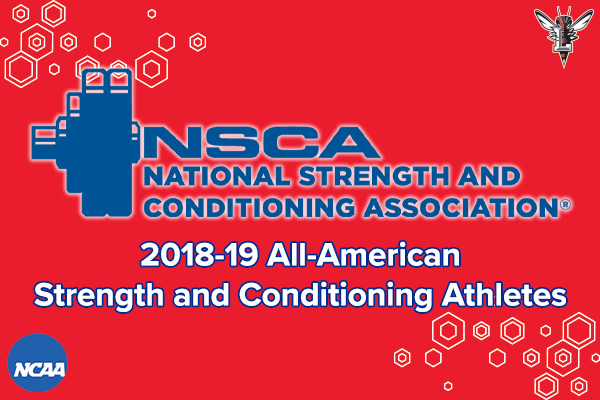 Red honeycomb background with NSCA logo in blue