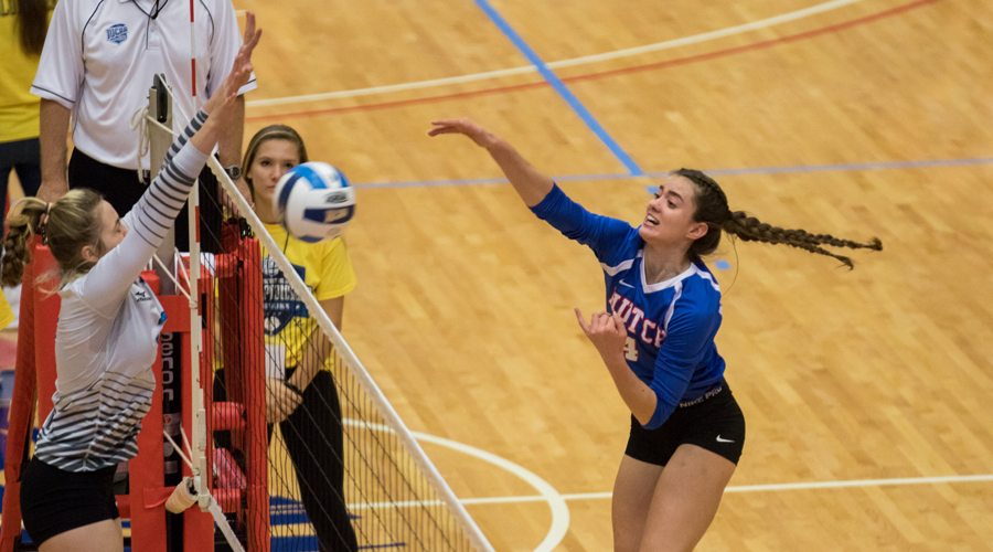 Nina Pevic had 11 kills to lead the Blue Dragon in a 3-0 NJCAA Tournament opening-round loss to Iowa Western on Thursday at the Sports Arena. (Allie Schwiezer/Blue Dragon Sports Information)