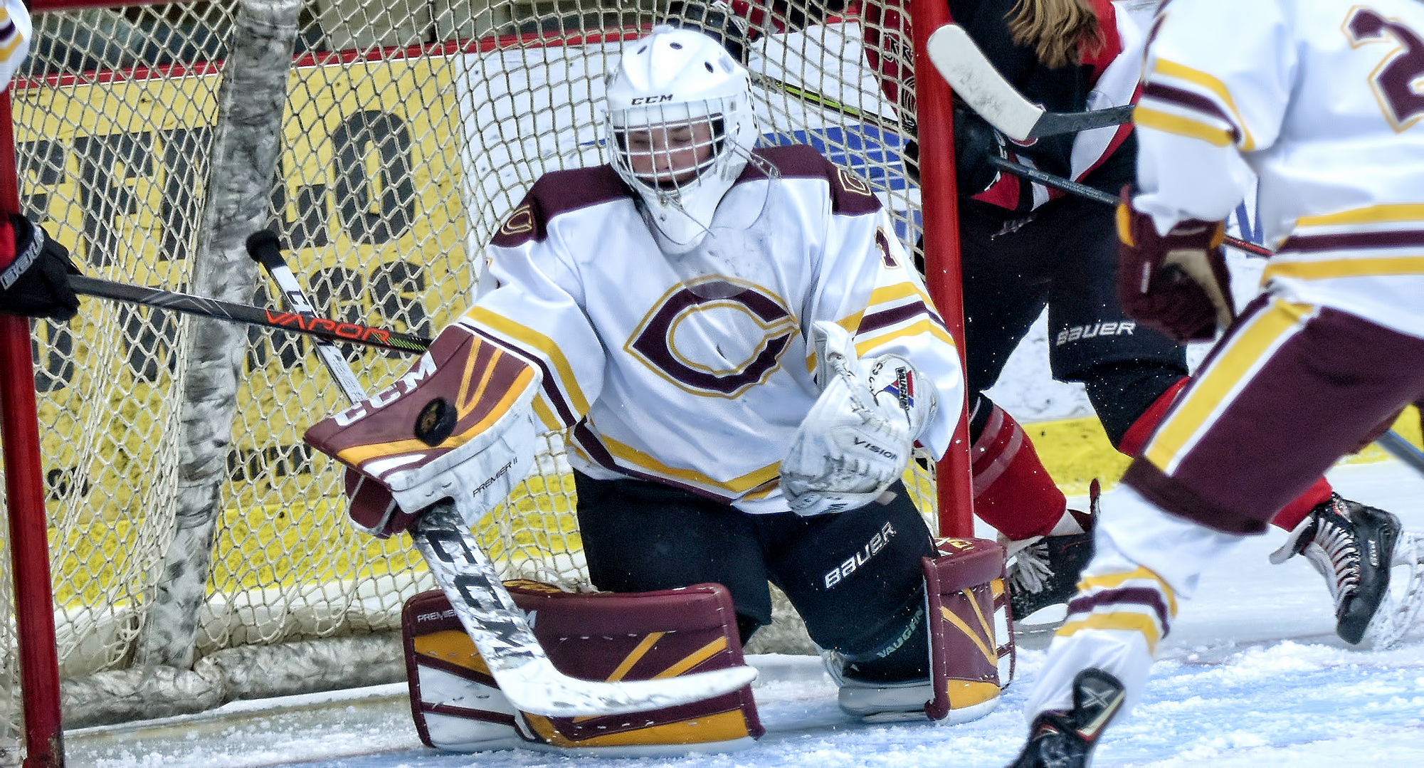 Freshman Kiana Flaig gets ready to make one of her 42 saves in the Cobbers' game with No.7-ranked Wis.-River Falls.