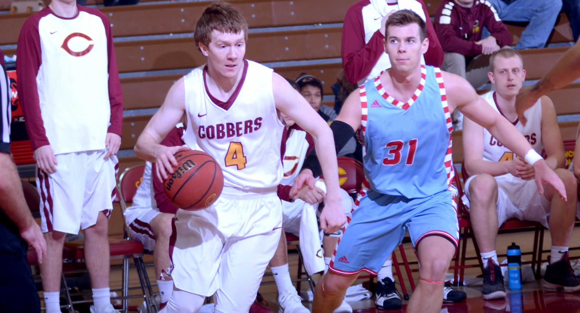 Collin Larson had a team-high 18 points in the Cobbers' game at St. Olaf. Larson has now scored at least 10 points in four straight games.