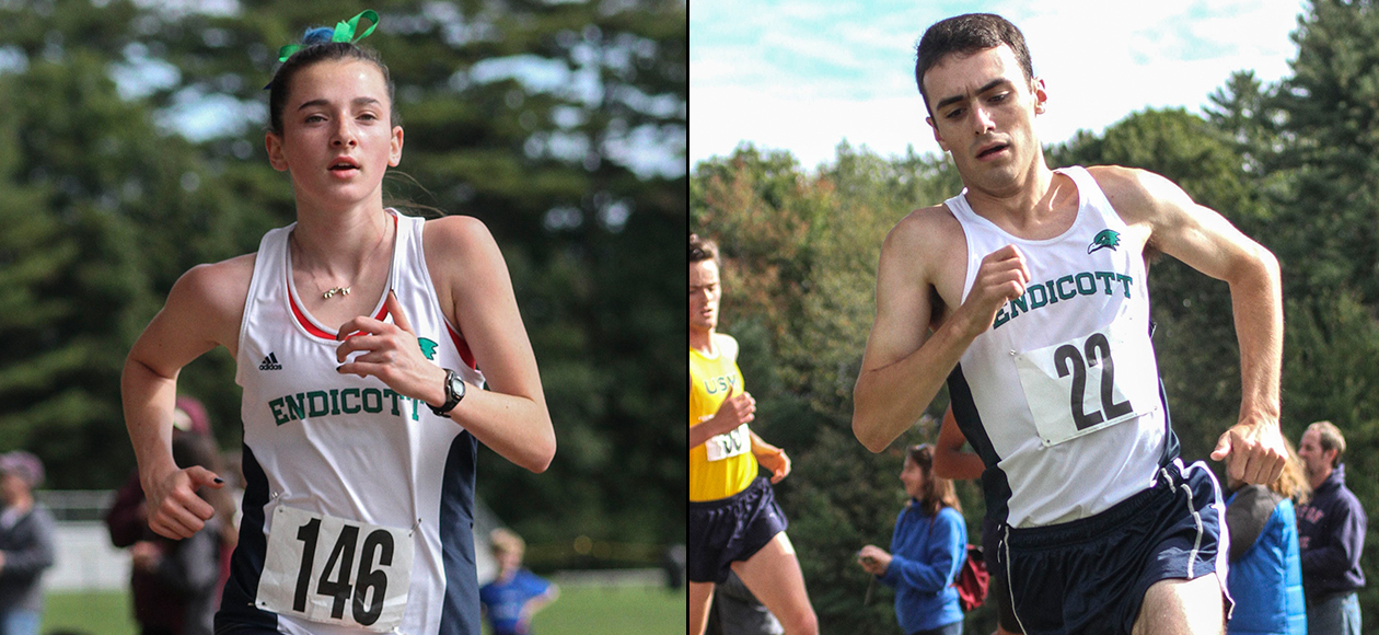 Split photo of a male and female student-athlete running.