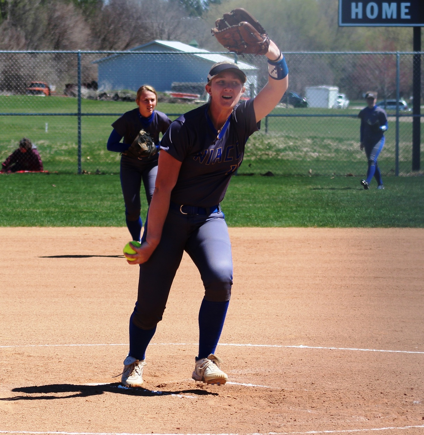 NIACC's Kristen Peka delivers a pitch in game at DMACC earlier this season.