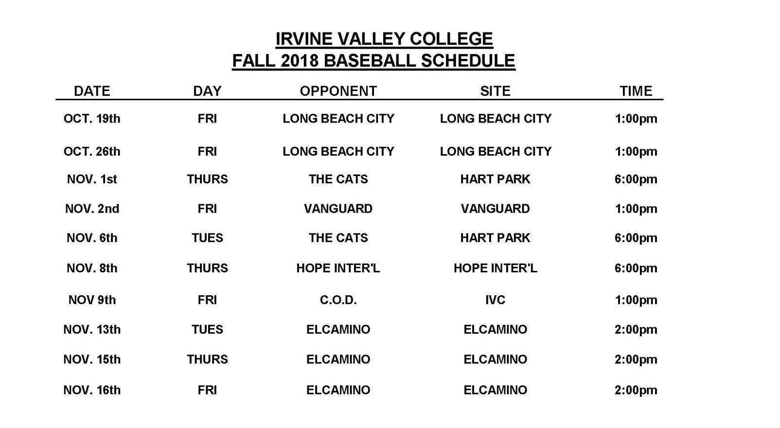 Irvine Valley baseball non-traditional fall schedule released
