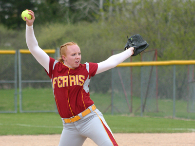 Freshman pitcher Dana Bowler posted nine strikeouts in a 4-3 game-one loss to Tiffin on Saturday.  (Photo by Sandy Gholston)