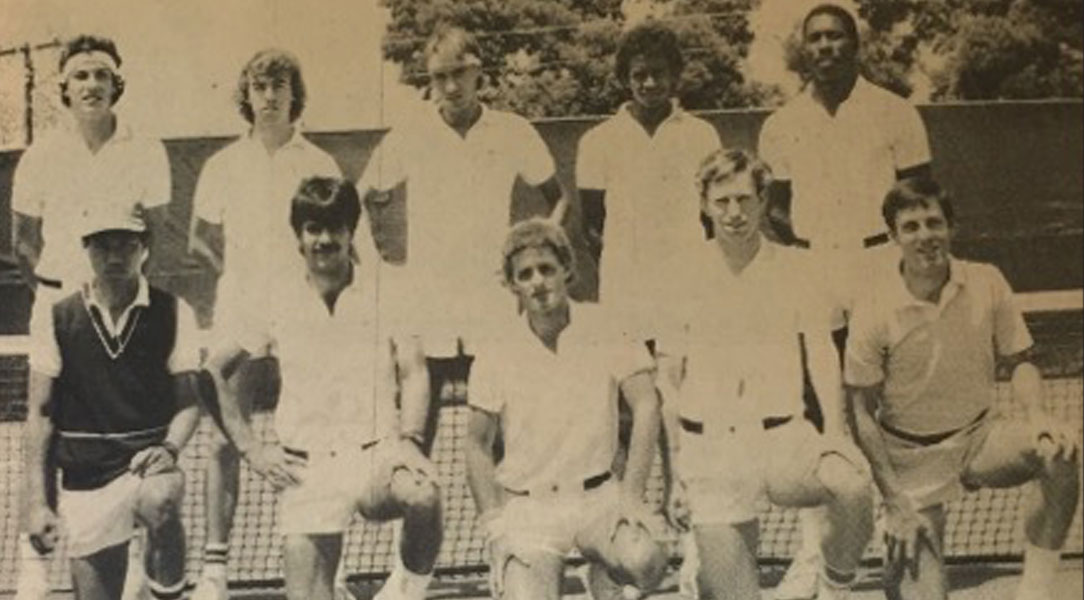 Newspaper photograph of the 1985 men's tennis team.