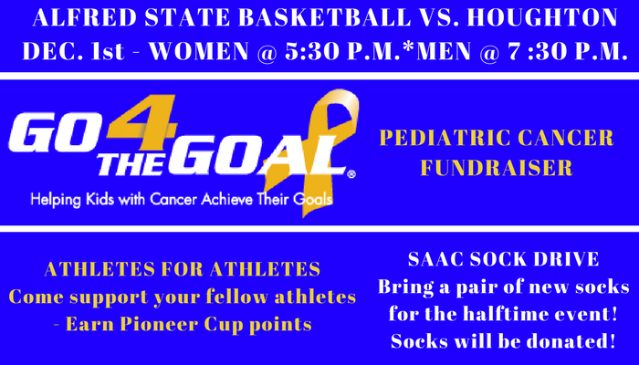 Promotions for basketball game vs. Houghton on December 1st