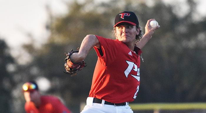 Justin Gill earned the win in relief with three shutout innings as the Eagles came from behind to beat Hillsborough 8-7. (Photo by Tom Hagerty, Polk State.)