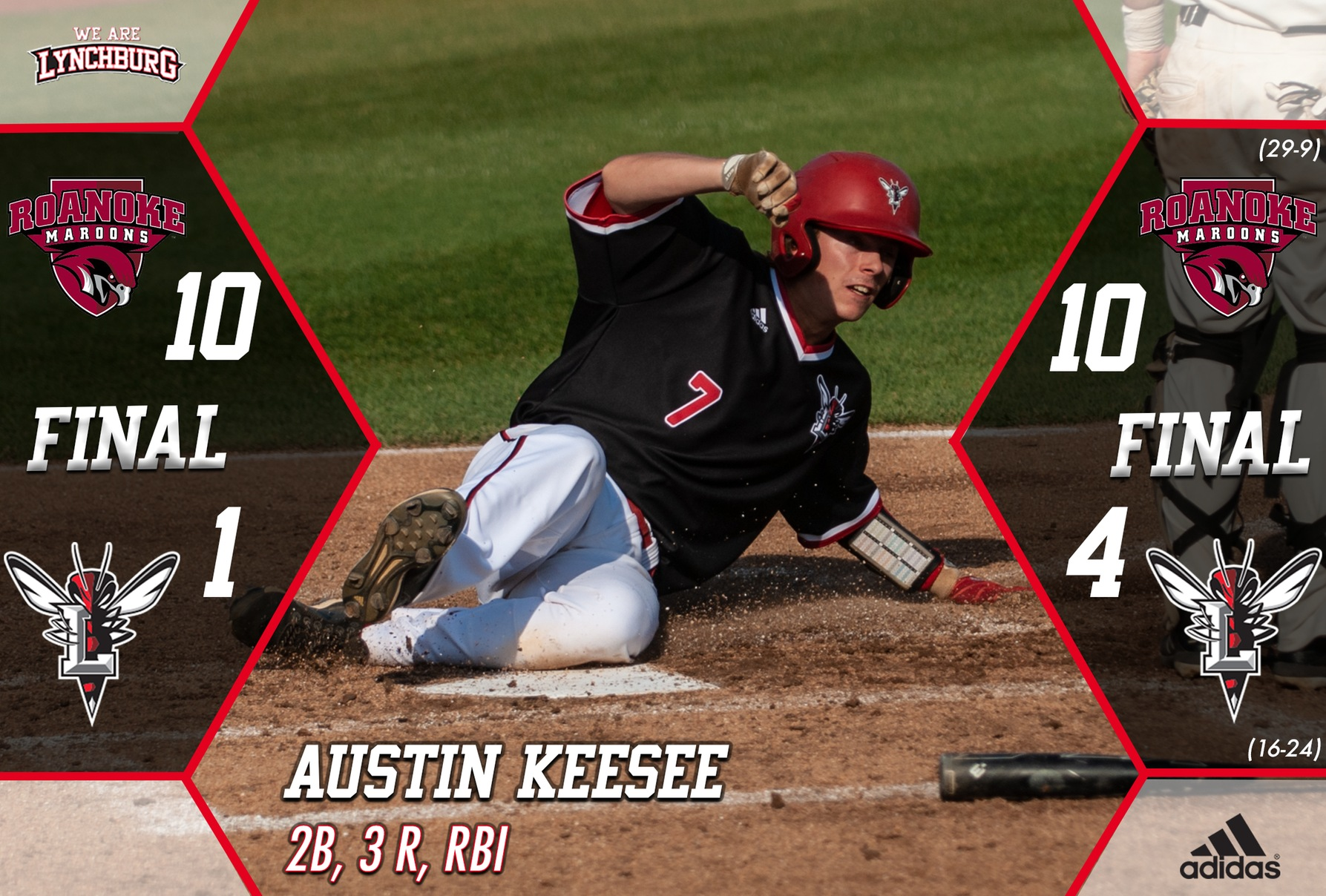 Austin Keesee slides into home plate.
