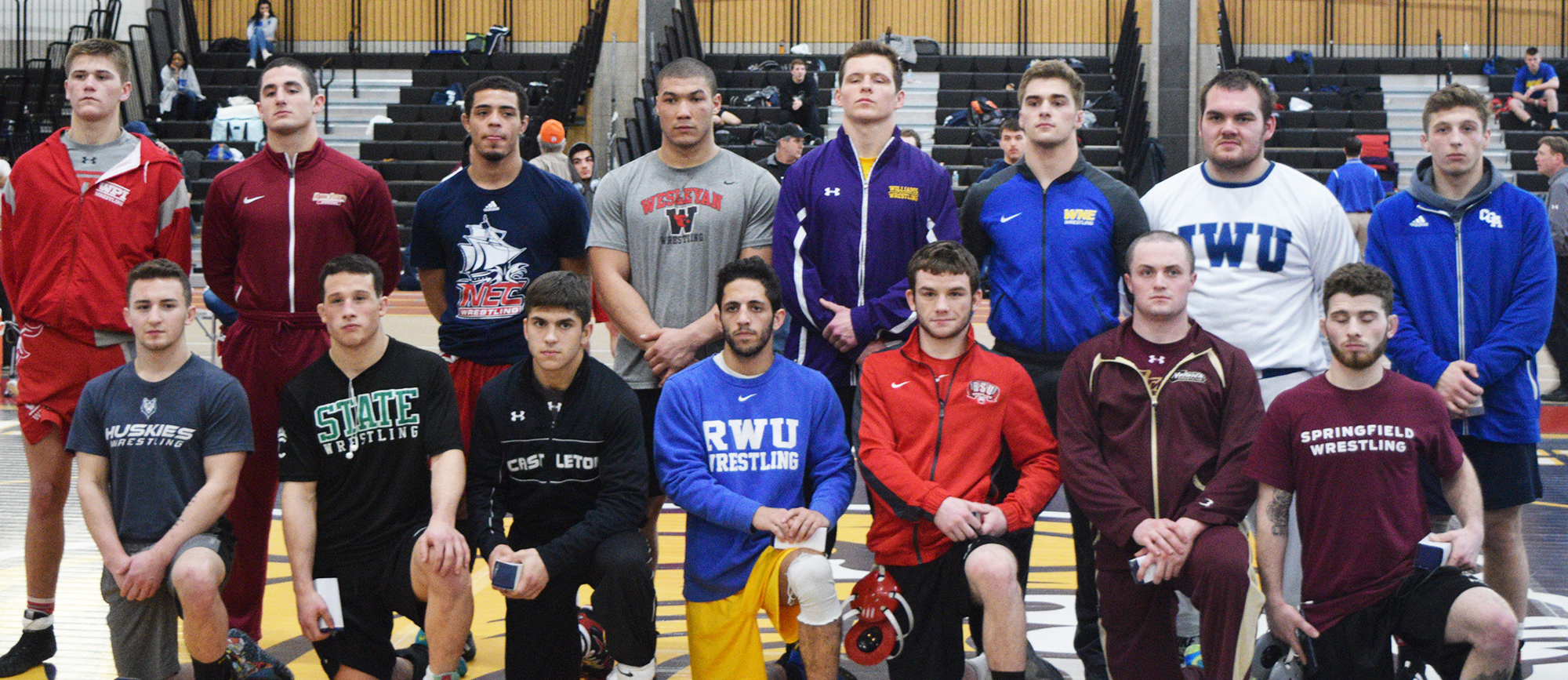 Sophomore John Boyle (top row, third from right) earned All-Tournament honors after posting a 4-0 record at 184 pounds at the NEWA Duals on Sunday. Western New England finished tenth in the 16-team field.