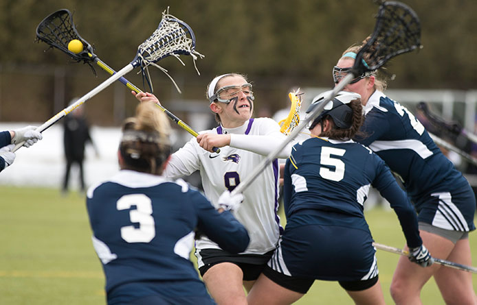 Women's lacrosse falls to No. 18 Stonehill, 12-8, despite strong second half