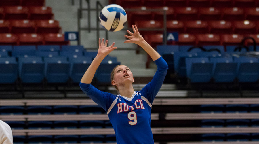Cassidy Crites had six kills on .600 hitting, 14 assists and nine digs in the Blue Dragons' 3-0 victory over Colby on Wednesday at the Sports Arena. (Allie Schweizer/Blue Dragon Sports Information)