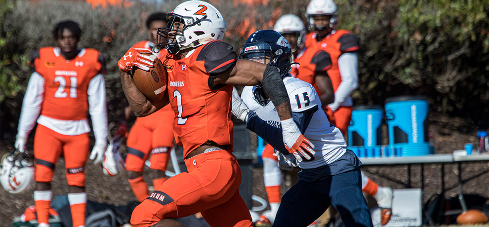 Thurlow Wilkins ran for a season-high 153 yards including this 63-yard TD in the Pioneers' 32-14 win over Catawba (photo by Chuck Williams)