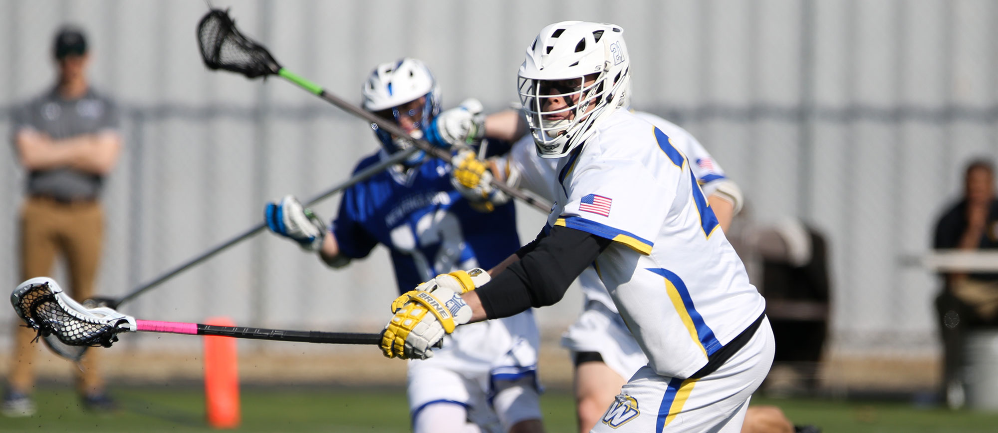 Hunter Cocks won 23-of-25 faceoffs and scooped up a game-high 12 ground balls in Western New England's 20-8 win over Nichols on Thursday. (Photo by Chris Marion)