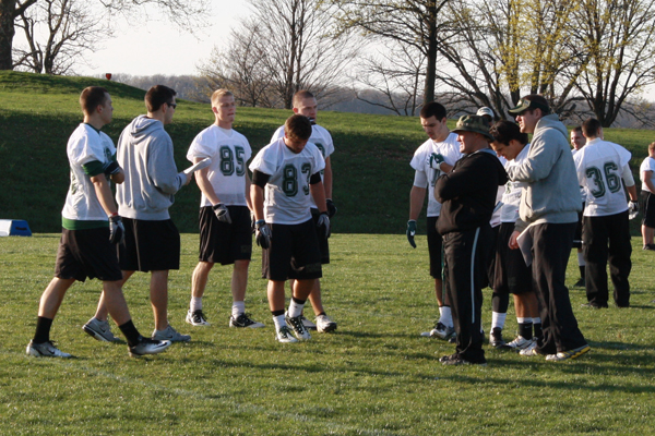 Coach Hoyt on the field for Day One of spring football practice.