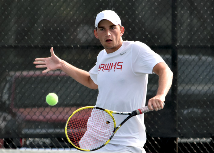 Senior Justin McQueen won 6-2, 6-2 at No. 2 singles against Florida Tech on Tuesday. (Photo by Wesley Lyle)