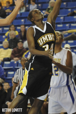 Tope Obajolu broke UMBC's 14-year-old record for blocks in a season.