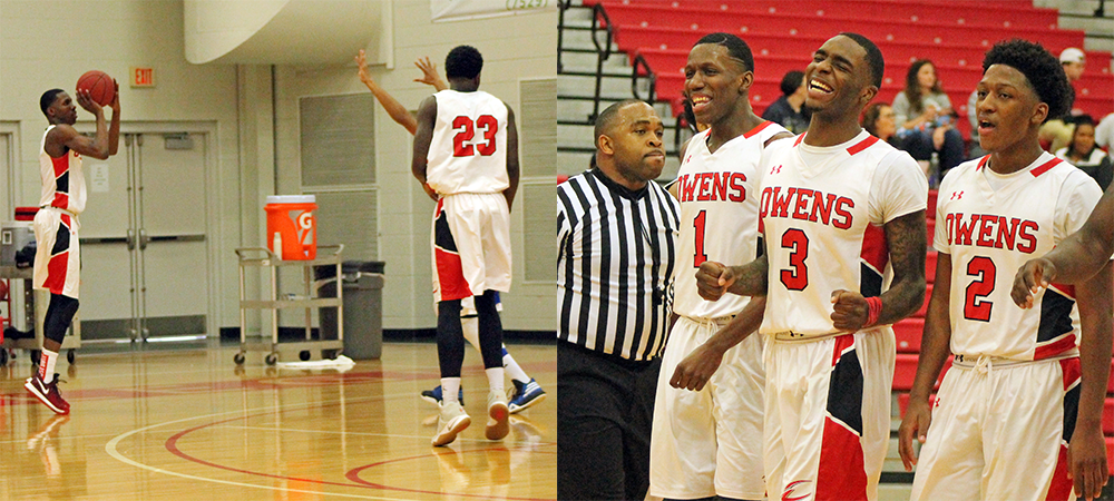 At left, Jamerson attempts a 3-pointer. At right, he celebrates with his teammates Shondell Jackson (3) and Roy Hatchett (2) after making his fifth straight 3-pointer over a two minute stretch in the second half. Photos by Jeryn Reese and Nicholas Huenefeld/Owens Sports Information