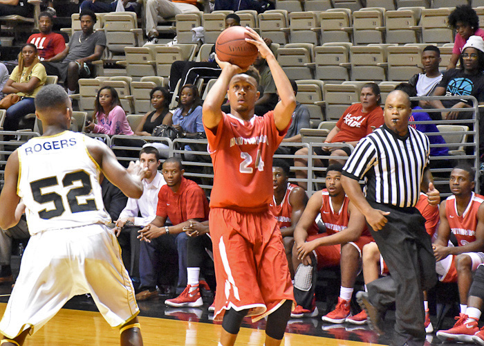 Raheem Berry led Huntingdon with 16 points, six rebounds and five steals in Thursday's exhibition loss to Division I Alabama State University. (Photo by Wesley Lyle)