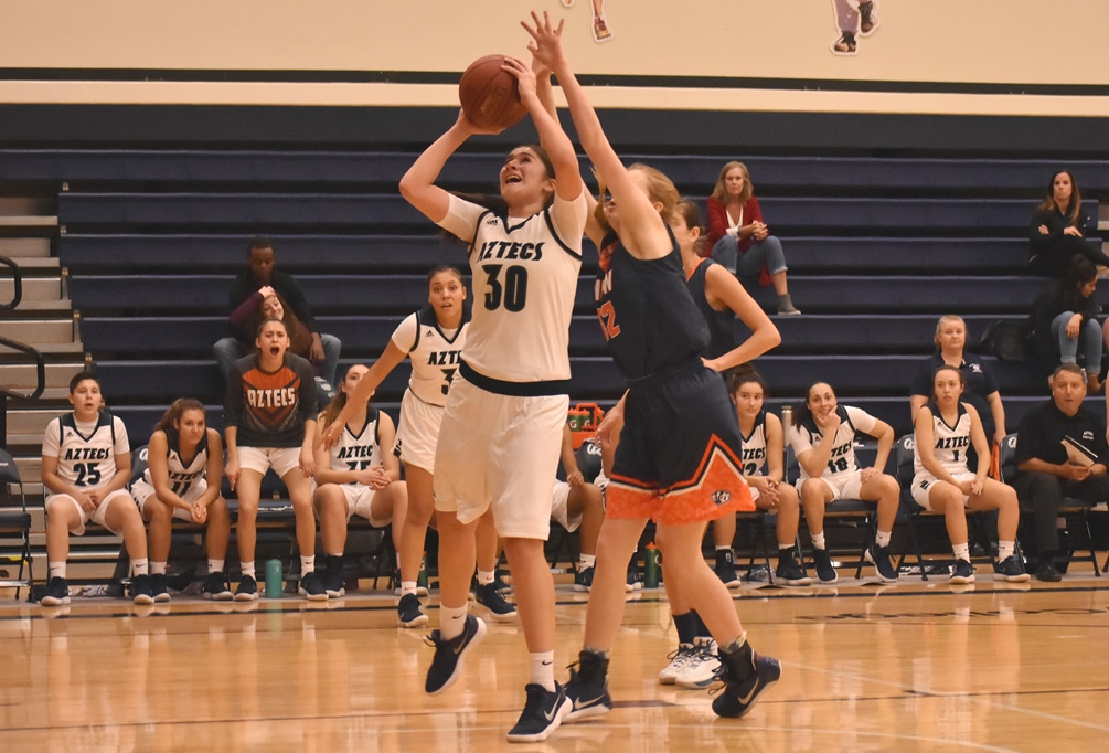 Sophomore Christine Ortega (Flowing Wells HS) had a game-high 29 points and 12 rebounds in Pima's comeback win over Division I Central Arizona College 83-73. The Aztecs improved to 14-3 overall and 8-1 in ACCAC conference play. Photo by Ben Carbajal.