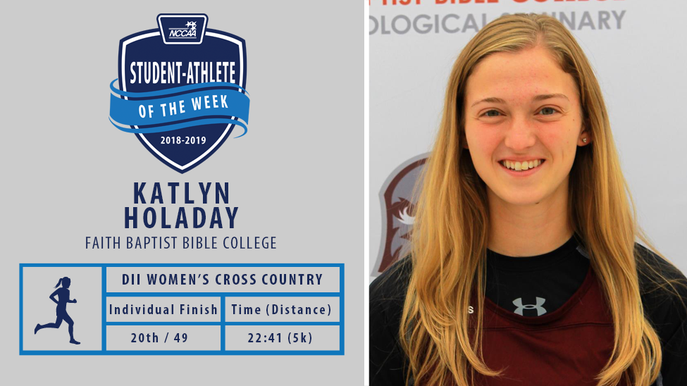 Katlyn Holaday Named NCCAA Student-Athlete of the Week