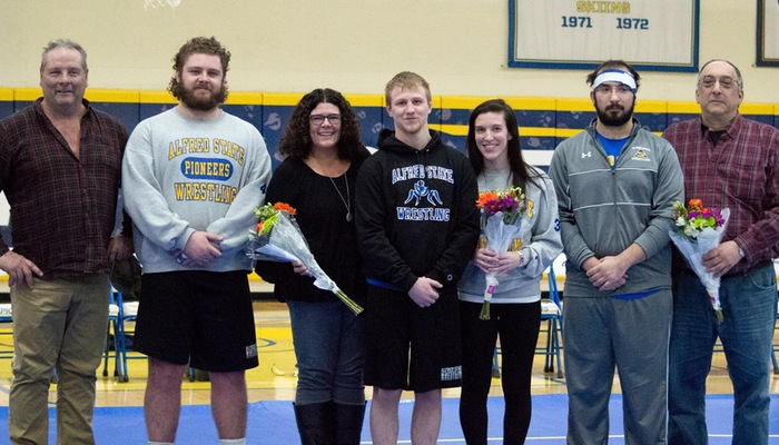 Wrestling Seniors prior to their final match at home
