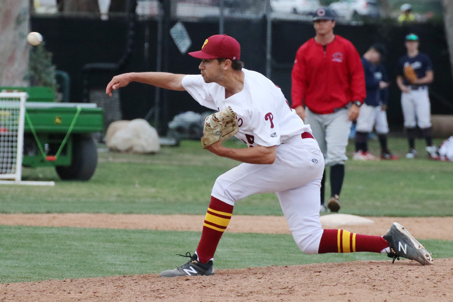 Lancer ace Gordon Ingebritson fires a pitch during a 1-hitter Saturday over Chaffey, photo by Richard Quinton.