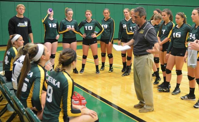 The Keuka College women's volleyball team kicks off the NEAC tournament with a quarterfinal contest against Lancaster Bible College Friday night (photo courtesy of Ed Webber, Keuka College Sports Information department).