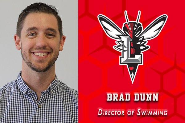 Head shot of Brad Dunn. Text: Director of Swimming. Lynchburg Hornet logo.