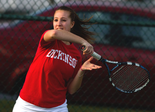 Alysia Rodgers won the top doubles and singles flights to lead the Red Devils to a 9-0 win over McDaniel College<BR>