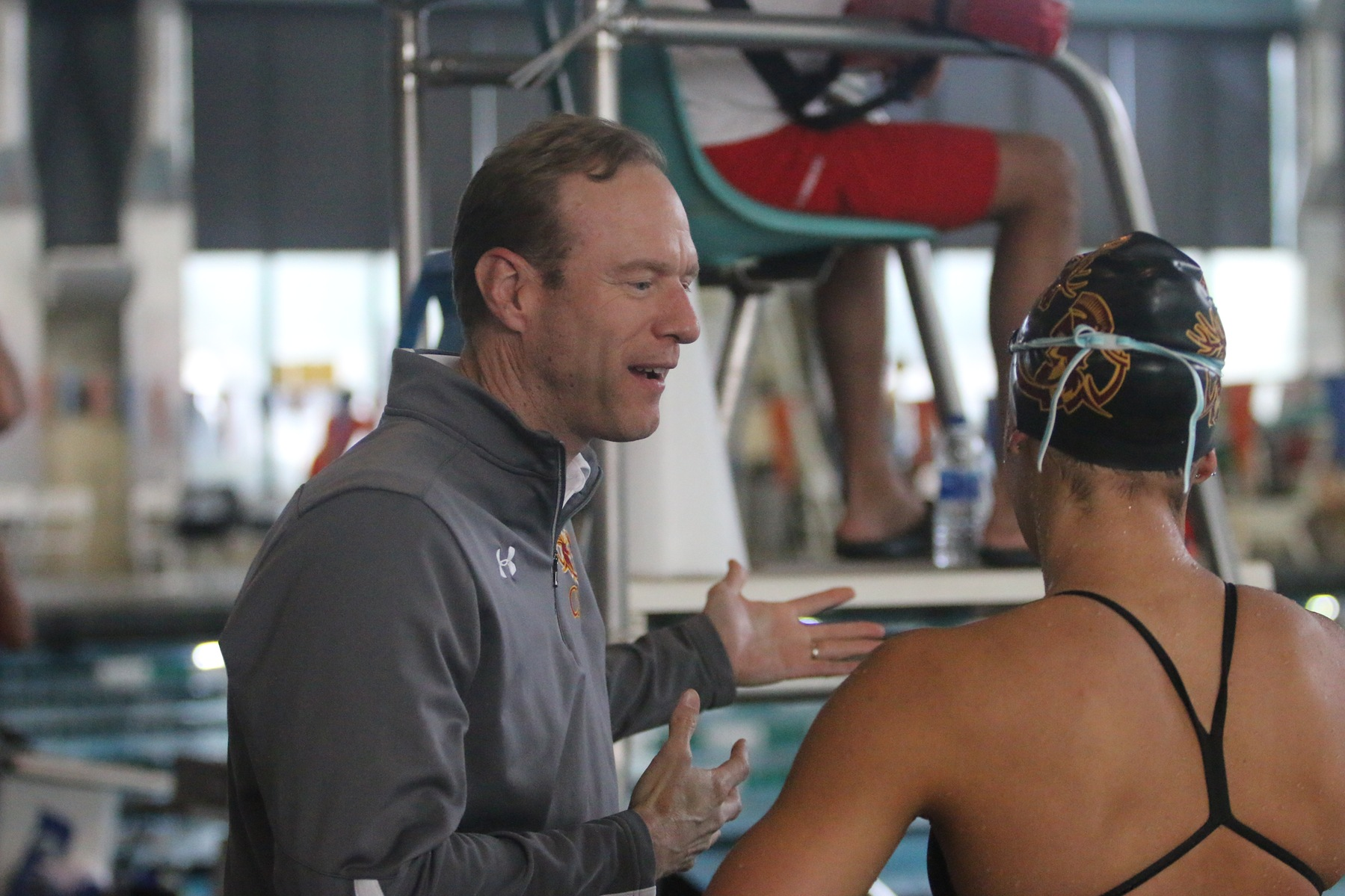 Charlie Griffiths coaching at the 2020 SCIAC Championships, where the Stags and Athenas won titles