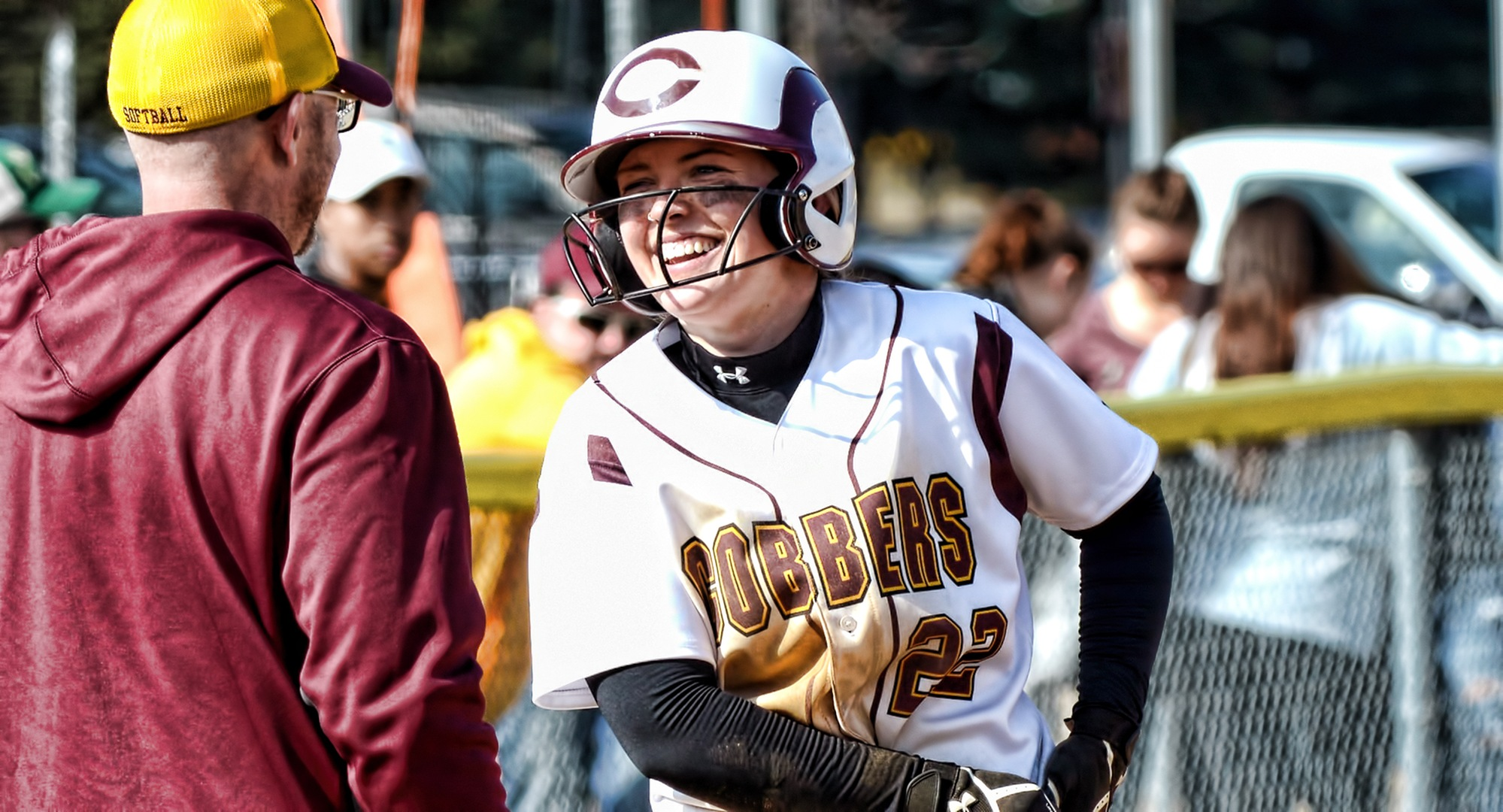 Elizabeth Asp is all smiles in Florida as she went 7-for-7 on Tuesday to help the Cobbers post wins over Houghton and Johnson State.
