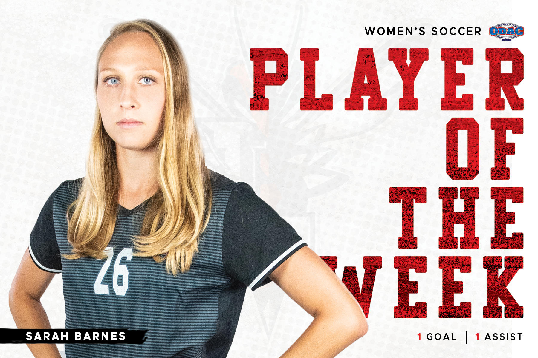 Sarah Barnes standing in black uniform with hands on hips atop white and red player of the week background