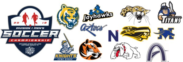 images of NJCAA D-1 men's soccer championship participants logos