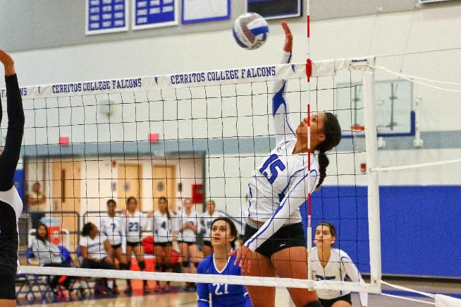 File Photo: Jasmynne Roberts recorded 13 kills and 23 digs in the Falcons five-set loss to LB City