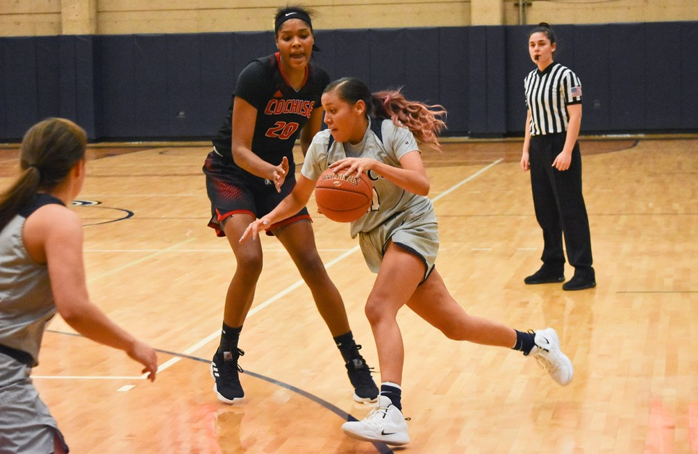 Sophomore Shauna Bribiescas (Dobson HS) posted a double-double of 17 points and 12 rebounds but the No. 14 ranked Aztecs fell 85-74 to Eastern Arizona College. The Aztecs are now 3-4 overall and 0-2 in ACCAC conference play. Photo by Ben Carbajal