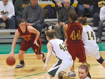Ferris' Tricia Principe dribbles the ball on Saturday at NMU (Photo by Rob Bentley)