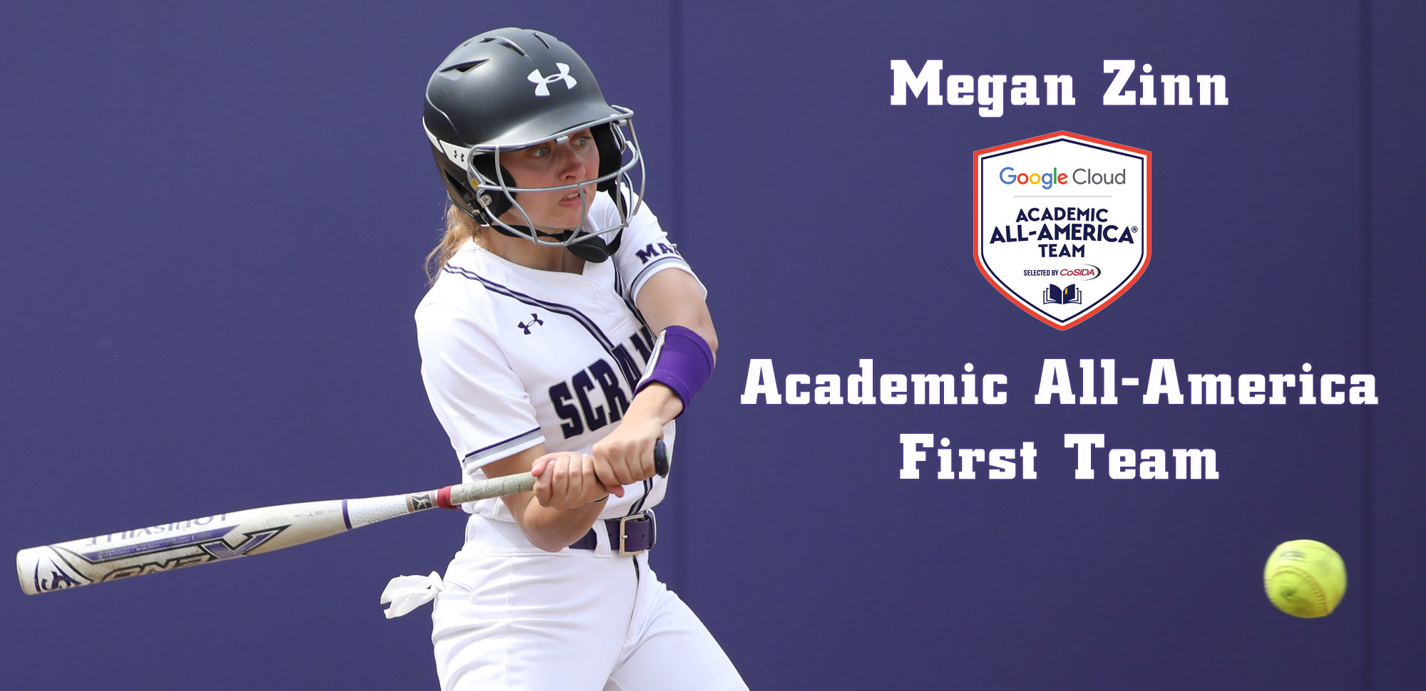 Junior outfielder Megan Zinn was named to the 2019 Google Cloud Academic All-America® Division III First Team as selected by CoSIDA. © Photo by Timothy R. Dougherty / doubleeaglephotography.com